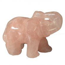 Rosenquarz-Stein Elefant kaufen| Edelstein Tiergravur Elefant aus Rosenquarz5 cm | Glücksbringer-Heilstein und Geschenk | Sehr beliebtes Sammelobjekt bei Groß und Klein