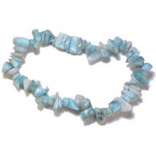 Larimar Stretch-Armband | Blauer Atlantis-Stein Armschmuck | Echtes Larimar Edelstein Armband auf elastischem Gummi-Band | Heilstein Schmuck Splitterarmband