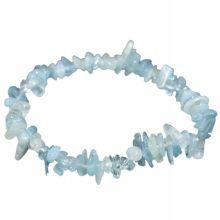Aquamarin Stein Armband auf elastischen Band | Echtes Edelstein Armband und Heilstein Stretch-Armband für viele Handgelenke | Splitterarmband Aquamarin Trommelsteine für Damen und Herren