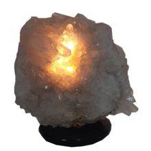 Echte Bergkristall Stein Lampe groß kaufen | Große natürlich gewachsene Kristall Naturspitzen |  Edelstein-Leuchte Bergkristall-Gruppe mit Holzsockel  | Edelsteinlampe N550