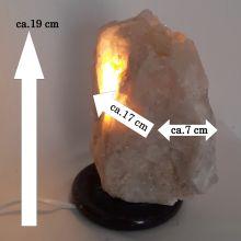 Echte Bergkristall Stein Lampe groß kaufen   Große natürlich gewachsene Kristall Naturspitzen    Edelstein-Leuchte Bergkristall-Gruppe mit Holzsockel    Edelsteinlampe N550