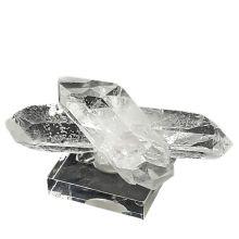 Bergkristall Quarz Natur-Spitzen Gruppe mit sehr schönen klaren Spitzen aus Brasilien | Ideal als Deko-Objekt und Sammlerstück auf Sockel stehend| Beliebter Heilstein N22