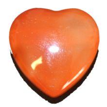 Karneol Herz-Anhänger klein kaufen | Echter Carneol Edelstein-Schmuck Ketten-Anhänger| 20 mm Herz gebohrt für Halskette | Heilstein Anhänger Kette oder Lederband