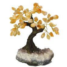 Citrin Baum | dekorativer Edelsteinbaum | hübscher Edelstein Citrinbaum stehend auf Amethyst Base| Höhe ca. 16-17 cm | Handarbeit zur Dekoration