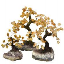 Citrin Edelstein Baum | hübscher Edelstein Citrinbaum stehend auf Amethyst Base| Höhe ca. 11-12 cm | Handarbeit zur Dekoration | dekorativer Edelsteinbaum