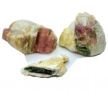 Turmalin Rohsteine 3 Stücke |  kleine Brocken rosa und grüner Turmalin in Matrix | Edelsteine Natur belassen aus Brasilien N167