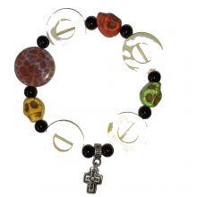 Edelstein Armband Scull | ausgesuchte Edelstein Vielfalt auf Strechband| Perlmutt, Stein Armschmuck