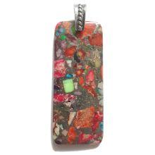 Edelstein rot-bunt Anhänger | Rechteck Form Halsschmuck Öse | verschiedene Steine gepresst, sehr dekorativer Schmuckanhänger | N2