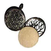 Medaillon Blume des Lebens mit Pads zum beduften| Anhänger Aroma Diffusor Silber farbend | Modeschmuck zum beduften | Gratis Halskette dazu