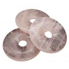 Rosenquarz Donut, Pi Scheiben Anhänger, ca. 50mm