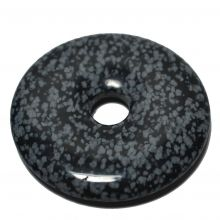 Schneeflocken-Obsidian Donut-Anhänger, ca. 50mm