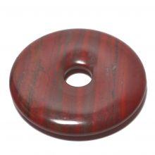 Donut Anhänger, roter Jaspis Edelstein Pi Scheibe ca. 50mm