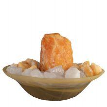 oranger Calcit Zimmerbrunnen  | Edelstein-Brunnen Rohstein | die Klima-Oase für Ihr zu Hause | befeuchten und reinigen ihre Raumluft und zaubern mit einer zusätzlichen Lichtquelle Entspannung