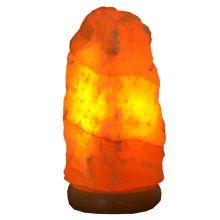 Orangencalcit Stein Lampe | Schöne Edelsteinlampe aus einem gelb-orangen Naturstein | Edelstein-Leuchte mit Holzsockel | warmes dekoratives Stimmungslicht