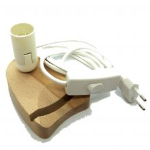 Holzsockel Beleuchtung für Achat-Scheiben | Achatscheiben Halter | passende Fassung E14 | weißes Kabel mit Zwischenschalter