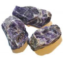 Chevron Amethyst, Edelstein Rohstein Brocken, violett-weiß gemasert, Dekortion, für Sammler, Therapiestein, für Sammler