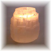 Rosenquarz Teelicht-Halter | Edelstein Teelicht Rosenquarz | rosa Kristall Kerzen-Halter | Heilstein und Deko Beleuchtung für Ihre Wohn- und Schlafräume