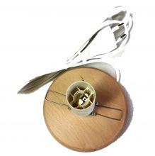 Holzsockel mit Klemme 10 cm - für Leuchtschalen, Fassung E14