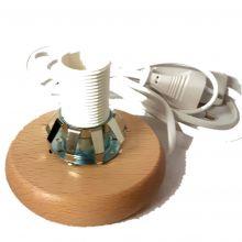 Holzsockel mit Feder ca.10 cm - für Lampen, Fassung E14