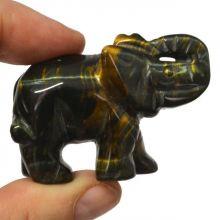 Falkenauge Edelstein-Tier Elefant ca. 5 cm   Tiergravur   Edelstein-Gravur Elefant aus Falkenauge   Glücksbringer und Heilstein   sehr beliebtes Sammelobjekt bei Groß und Klein