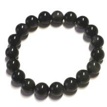 Regenbogen-Obsidian Edelstein Kugel-Armband ca. 10 mm Kugeln