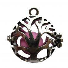 Engelsrufer-Lebensbaum mit Klangkugel - rosa - Anhänger