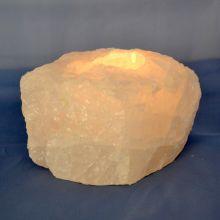 Bergkristall Edelstein Rohstein Teelicht | Sehr dekorativer Kristall Teelichthalter aus einem Bergkristall Rohstein | Entspannung pur beim Flackern des Kerzenlichts